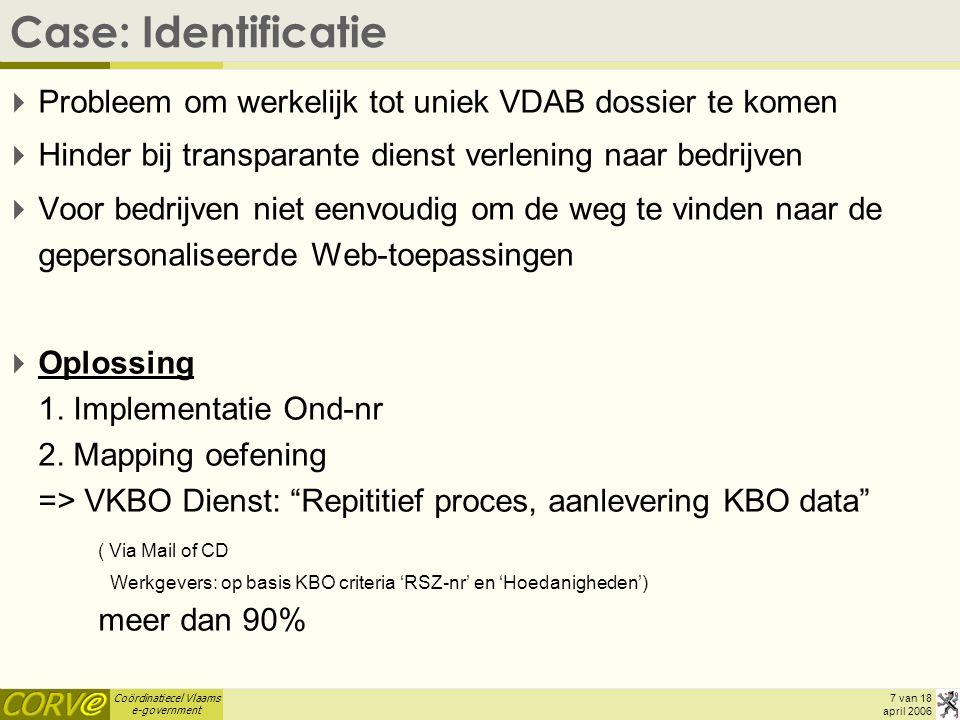 Coördinatiecel Vlaams e-government 7 van 18 april 2006 Case: Identificatie  Probleem om werkelijk tot uniek VDAB dossier te komen  Hinder bij transparante dienst verlening naar bedrijven  Voor bedrijven niet eenvoudig om de weg te vinden naar de gepersonaliseerde Web-toepassingen  Oplossing 1.
