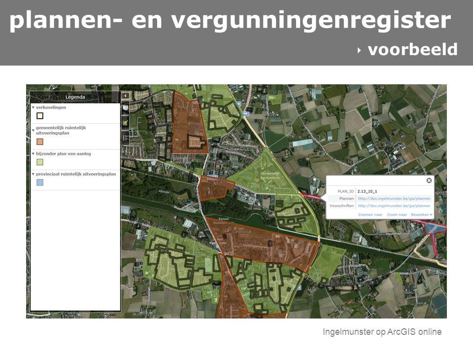 plannen- en vergunningenregister  voorbeeld Ingelmunster op ArcGIS online