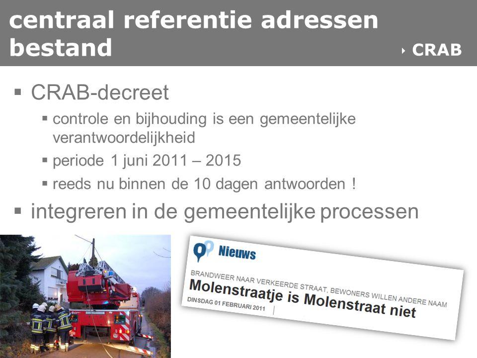 centraal referentie adressen bestand  CRAB-decreet  controle en bijhouding is een gemeentelijke verantwoordelijkheid  periode 1 juni 2011 – 2015 