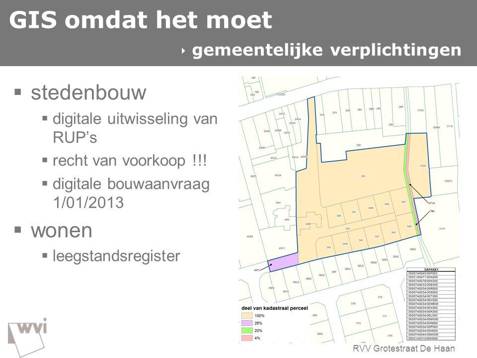 GIS omdat het moet  stedenbouw  digitale uitwisseling van RUP's  recht van voorkoop !!!  digitale bouwaanvraag 1/01/2013  wonen  leegstandsregis