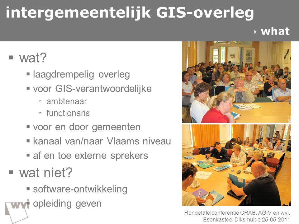 intergemeentelijk GIS-overleg  wat?  laagdrempelig overleg  voor GIS-verantwoordelijke ▫ ambtenaar ▫ functionaris  voor en door gemeenten  kanaal