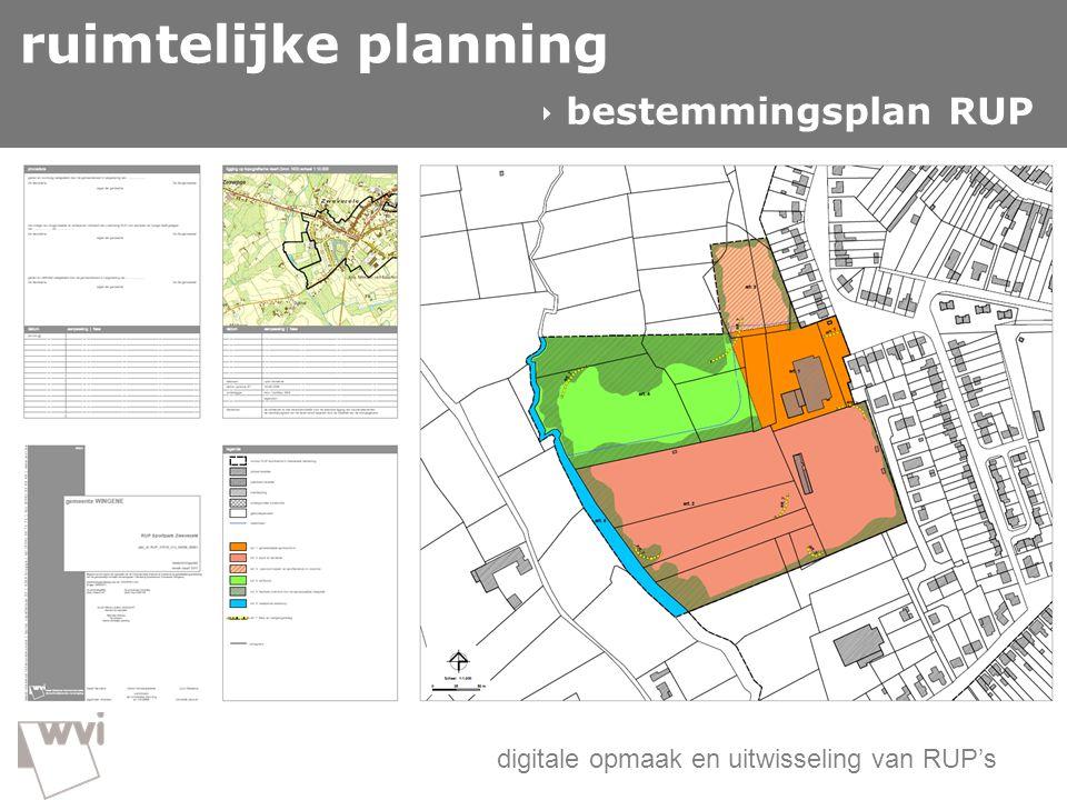 GIS in de wvi  ruimtelijke planning digitale opmaak en uitwisseling van RUP's ruimtelijke planning  bestemmingsplan RUP