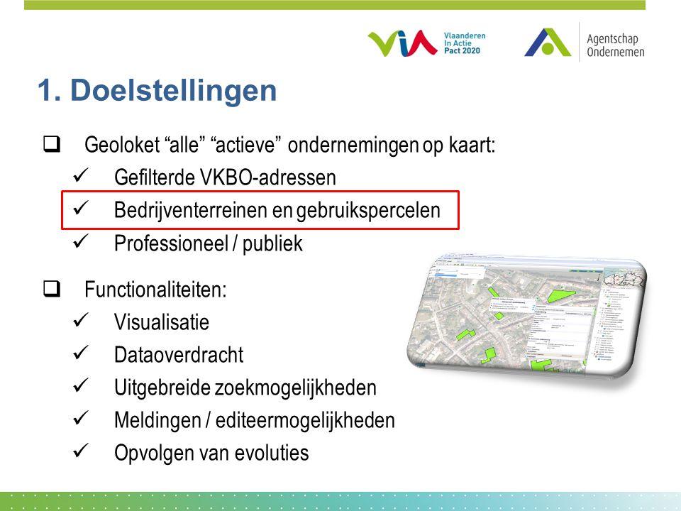 """1. Doelstellingen  Geoloket """"alle"""" """"actieve"""" ondernemingen op kaart: Gefilterde VKBO-adressen Bedrijventerreinen en gebruikspercelen Professioneel /"""
