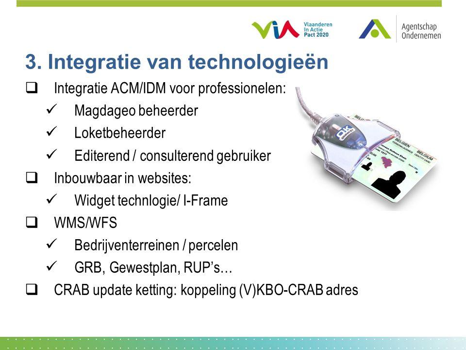 3. Integratie van technologieën  Integratie ACM/IDM voor professionelen: Magdageo beheerder Loketbeheerder Editerend / consulterend gebruiker  Inbou