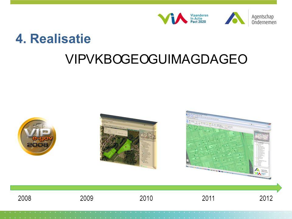 4. Realisatie VIPVKBOMAGDAGEO 20082009201020112012 GEOGUI