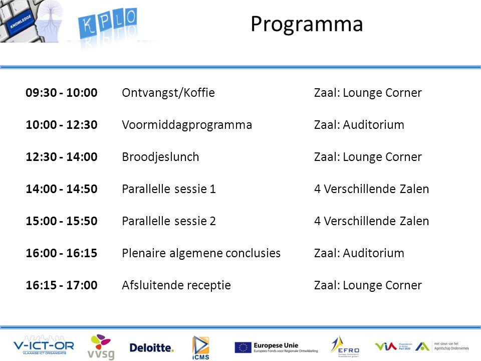 Programma 09:30 - 10:00Ontvangst/Koffie Zaal: Lounge Corner 10:00 - 12:30 VoormiddagprogrammaZaal: Auditorium 12:30 - 14:00Broodjeslunch Zaal: Lounge Corner 14:00 - 14:50 Parallelle sessie 1 4 Verschillende Zalen 15:00 - 15:50 Parallelle sessie 24 Verschillende Zalen 16:00 - 16:15 Plenaire algemene conclusiesZaal: Auditorium 16:15 - 17:00 Afsluitende receptieZaal: Lounge Corner