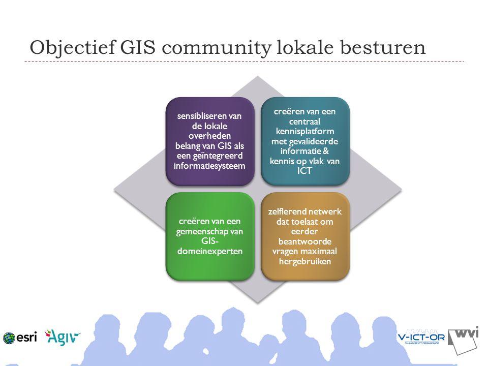 Objectief GIS community lokale besturen sensibliseren van de lokale overheden belang van GIS als een geïntegreerd informatiesysteem creëren van een ce