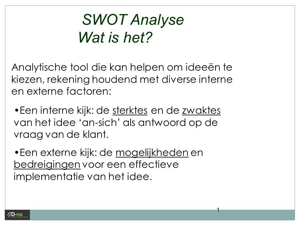 1 SWOT Analyse Wat is het? Analytische tool die kan helpen om ideeën te kiezen, rekening houdend met diverse interne en externe factoren: Een interne