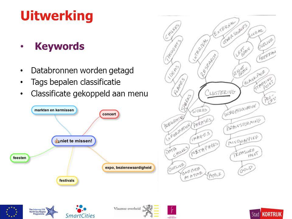 Keywords Databronnen worden getagd Tags bepalen classificatie Classificate gekoppeld aan menu Uitwerking