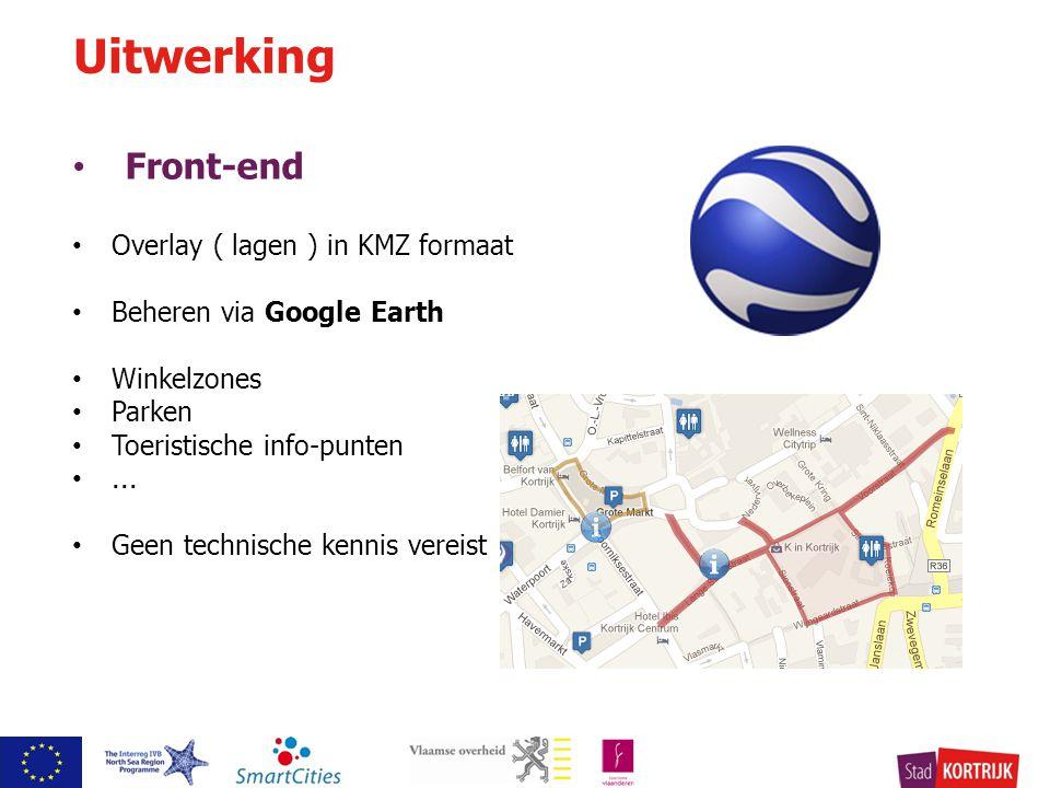 Front-end Overlay ( lagen ) in KMZ formaat Beheren via Google Earth Winkelzones Parken Toeristische info-punten...