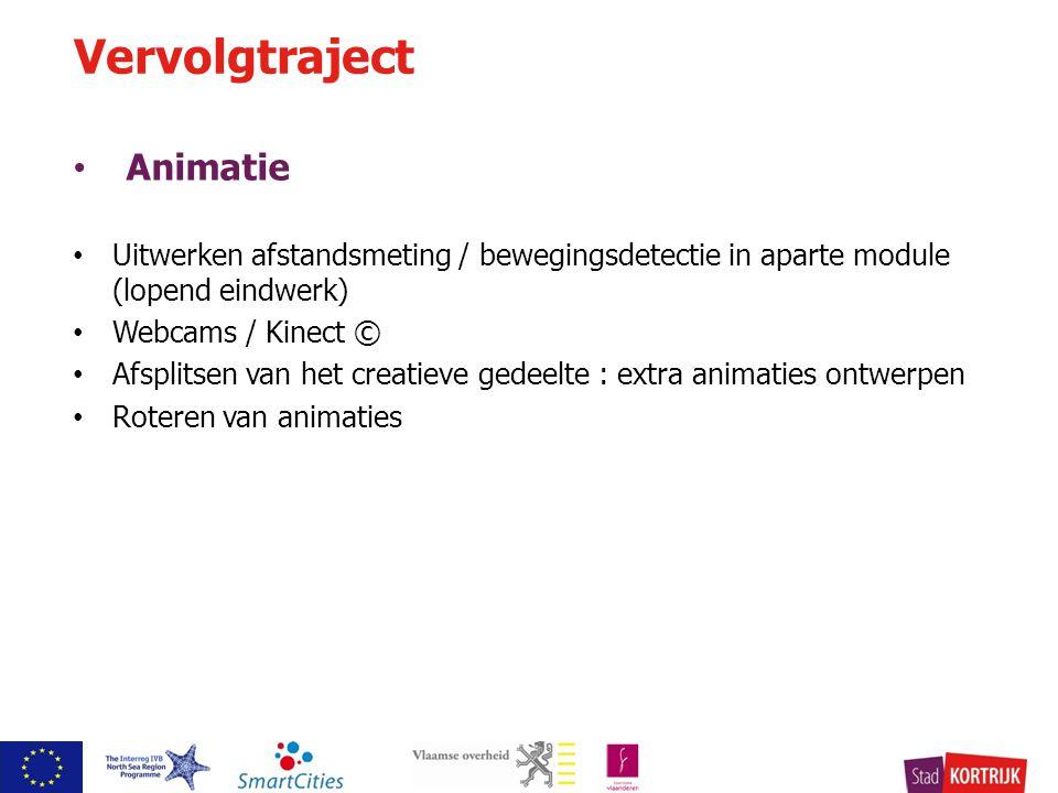 Animatie Uitwerken afstandsmeting / bewegingsdetectie in aparte module (lopend eindwerk) Webcams / Kinect © Afsplitsen van het creatieve gedeelte : extra animaties ontwerpen Roteren van animaties Vervolgtraject