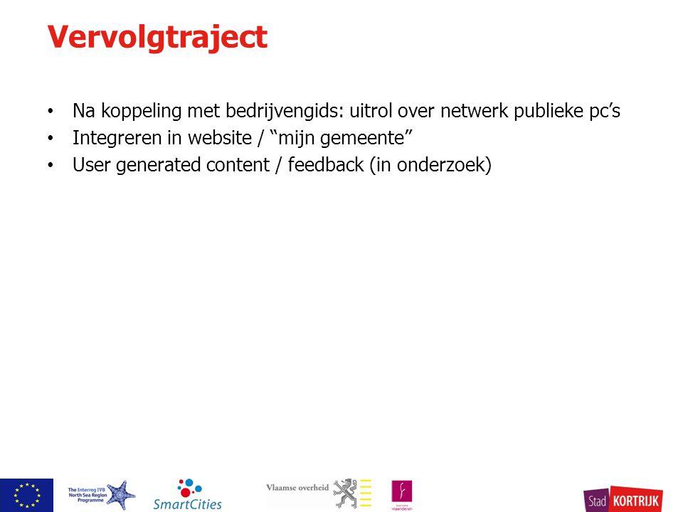 Na koppeling met bedrijvengids: uitrol over netwerk publieke pc's Integreren in website / mijn gemeente User generated content / feedback (in onderzoek) Vervolgtraject