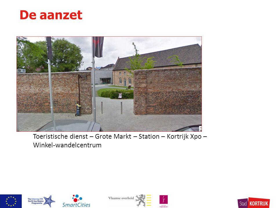 Toeristische dienst Kortrijk De aanzet 5 antennes voor bezoekers Toeristische dienst – Grote Markt – Station – Kortrijk Xpo – Winkel-wandelcentrum