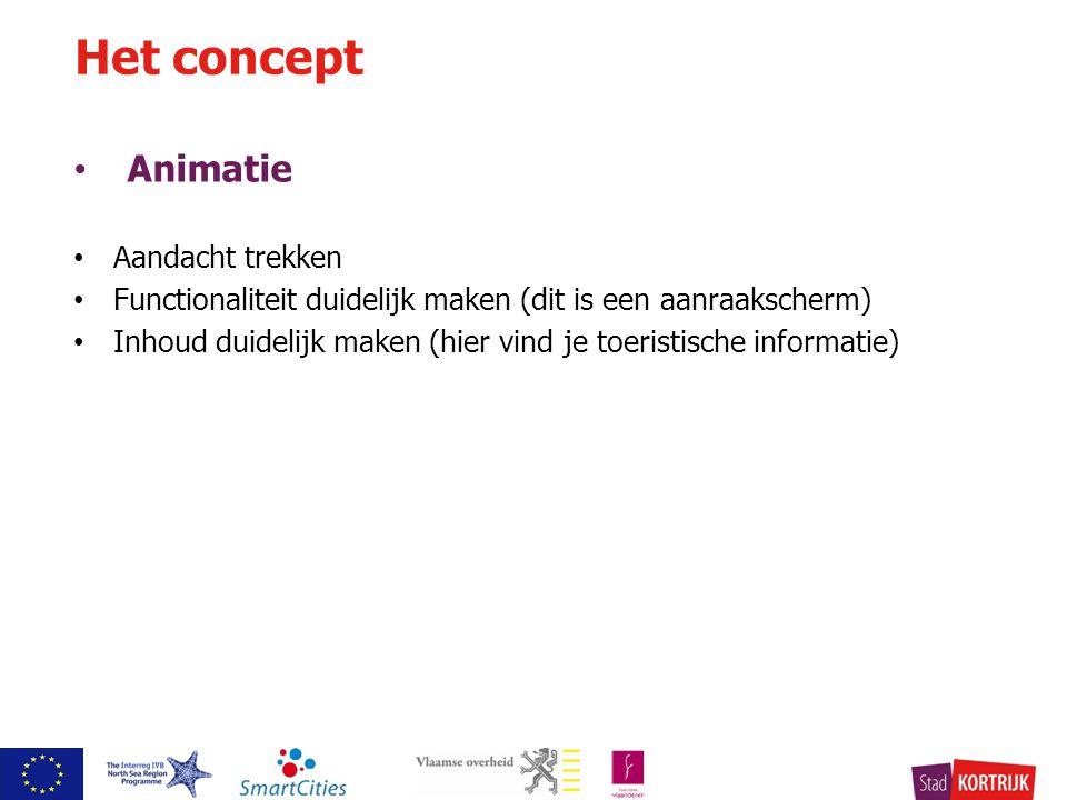 Animatie Aandacht trekken Functionaliteit duidelijk maken (dit is een aanraakscherm) Inhoud duidelijk maken (hier vind je toeristische informatie) Het concept