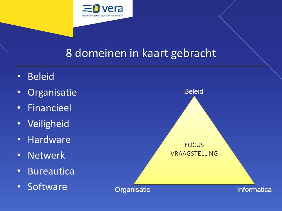 8 domeinen in kaart gebracht Beleid Organisatie Financieel Veiligheid Hardware Netwerk Bureautica Software FOCUS VRAAGSTELLING FOCUS VRAAGSTELLING Beleid InformaticaOrganisatie