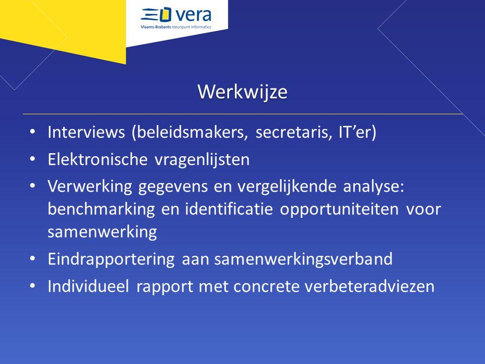 Werkwijze Interviews (beleidsmakers, secretaris, IT'er) Elektronische vragenlijsten Verwerking gegevens en vergelijkende analyse: benchmarking en identificatie opportuniteiten voor samenwerking Eindrapportering aan samenwerkingsverband Individueel rapport met concrete verbeteradviezen