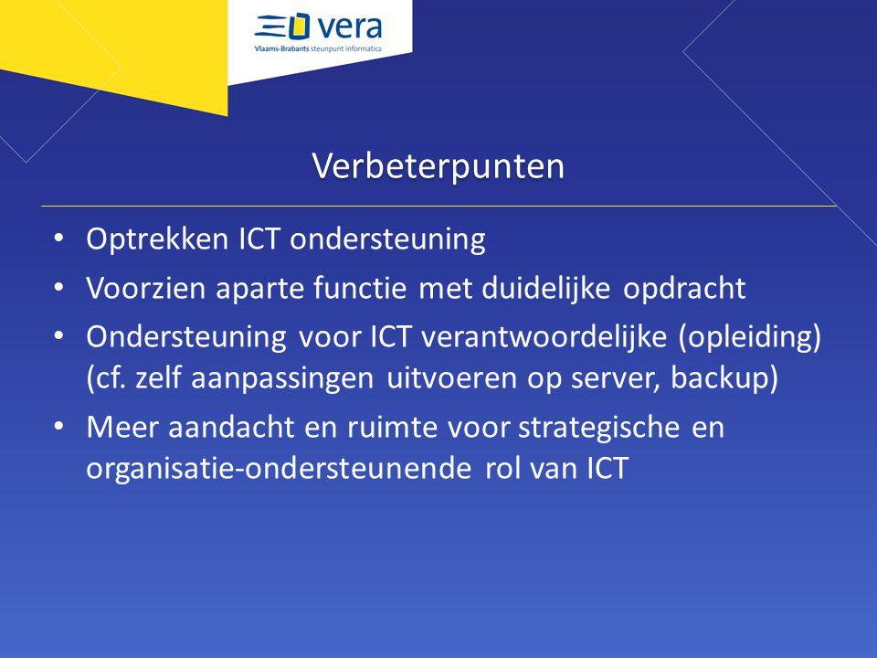 Verbeterpunten Optrekken ICT ondersteuning Voorzien aparte functie met duidelijke opdracht Ondersteuning voor ICT verantwoordelijke (opleiding) (cf.