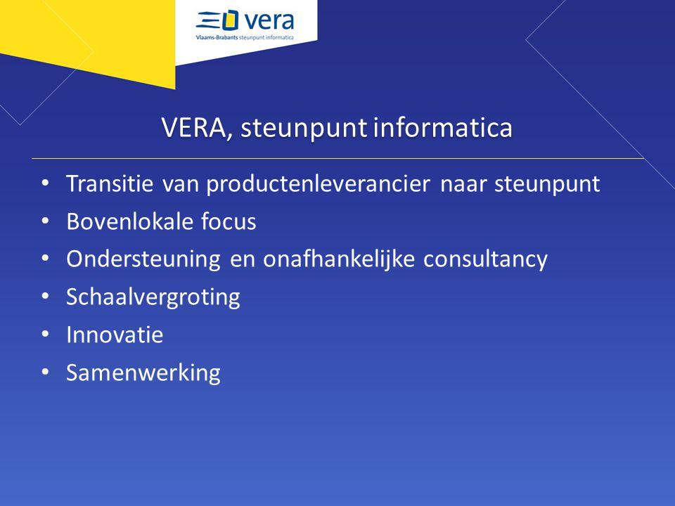 VERA, steunpunt informatica Transitie van productenleverancier naar steunpunt Bovenlokale focus Ondersteuning en onafhankelijke consultancy Schaalvergroting Innovatie Samenwerking