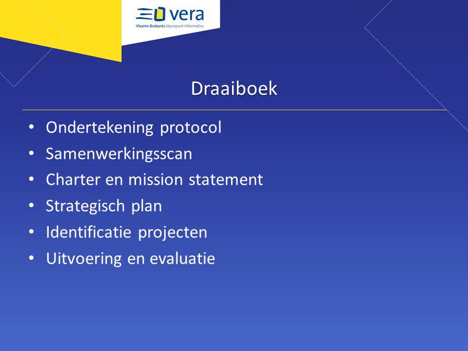Draaiboek Ondertekening protocol Samenwerkingsscan Charter en mission statement Strategisch plan Identificatie projecten Uitvoering en evaluatie