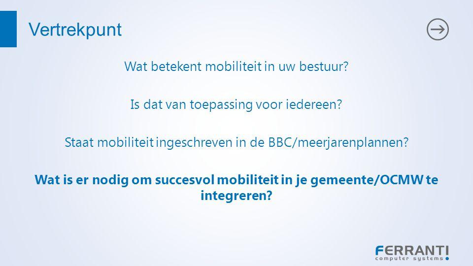 Vertrekpunt Wat betekent mobiliteit in uw bestuur.