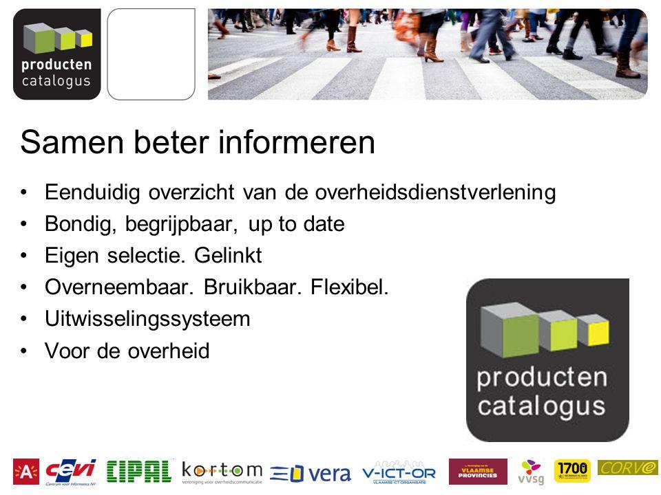 Samen beter informeren Eenduidig overzicht van de overheidsdienstverlening Bondig, begrijpbaar, up to date Eigen selectie.