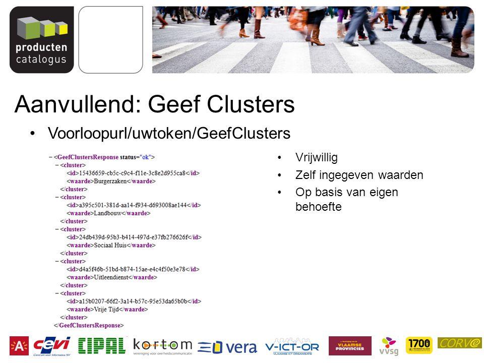 Aanvullend: Geef Clusters Vrijwillig Zelf ingegeven waarden Op basis van eigen behoefte Voorloopurl/uwtoken/GeefClusters