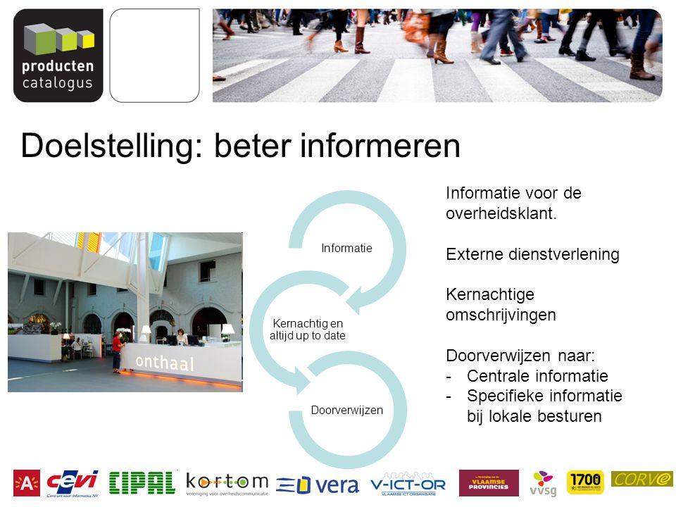 Doelstelling: beter informeren Informatie Kernachtig en altijd up to date Doorverwijzen Informatie voor de overheidsklant.