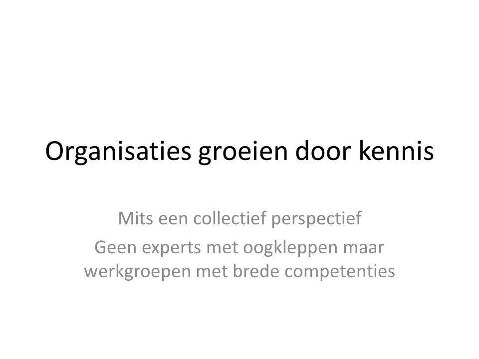 Organisaties groeien door kennis Mits een collectief perspectief Geen experts met oogkleppen maar werkgroepen met brede competenties