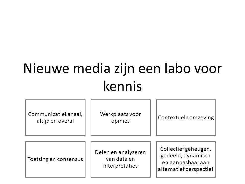 Nieuwe media zijn een labo voor kennis Communicatiekanaal, altijd en overal Werkplaats voor opinies Contextuele omgeving Toetsing en consensus Delen en analyzeren van data en interpretaties Collectief geheugen, gedeeld, dynamisch en aanpasbaar aan alternatief perspectief