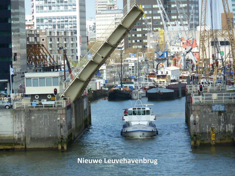 Op de Erasmusbrug, door de Houtlaan zien we de Euromast