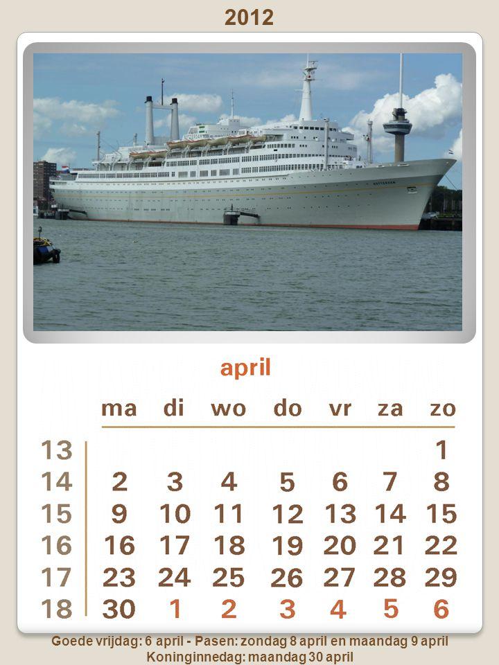 Goede vrijdag: 6 april - Pasen: zondag 8 april en maandag 9 april Koninginnedag: maandag 30 april