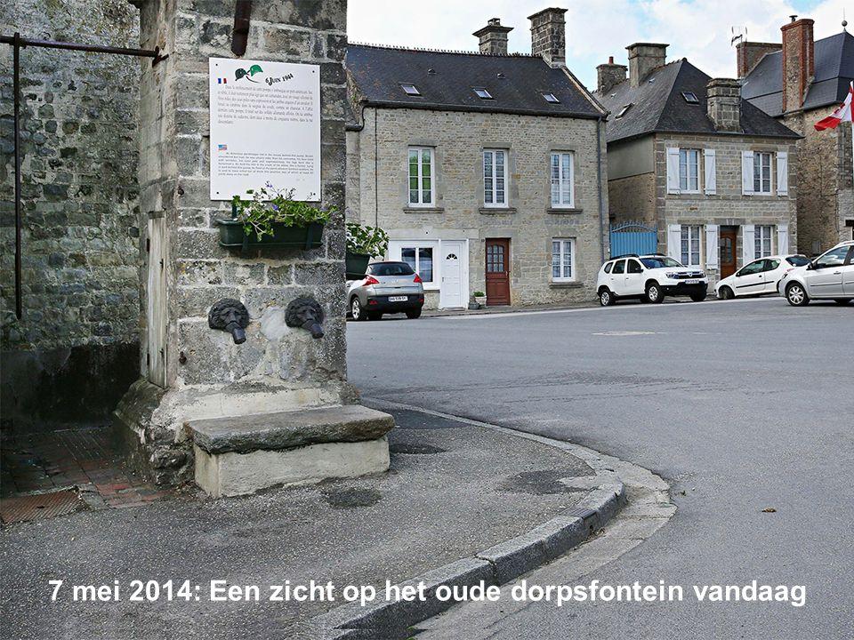 6 juni 1944: Een Franse gepantserde colonne door Sainte-Mère-Église krijgt een warm welkom van de inwoners 7 mei 2014: Een zicht op de weg vandaag