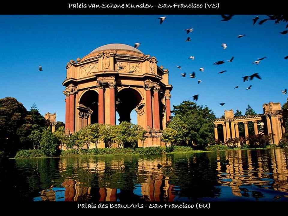 Façades des maisons vicroriennes - Alamo Square - San Francisco (EU) Voorgevels van de victoriaanse huizen - Alamo Square - San Francisco (VS)