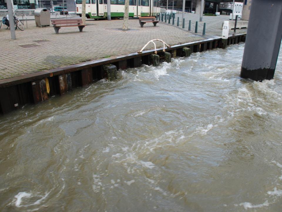 Bij de afvaart van de Spido, onder de Erasmusbrug