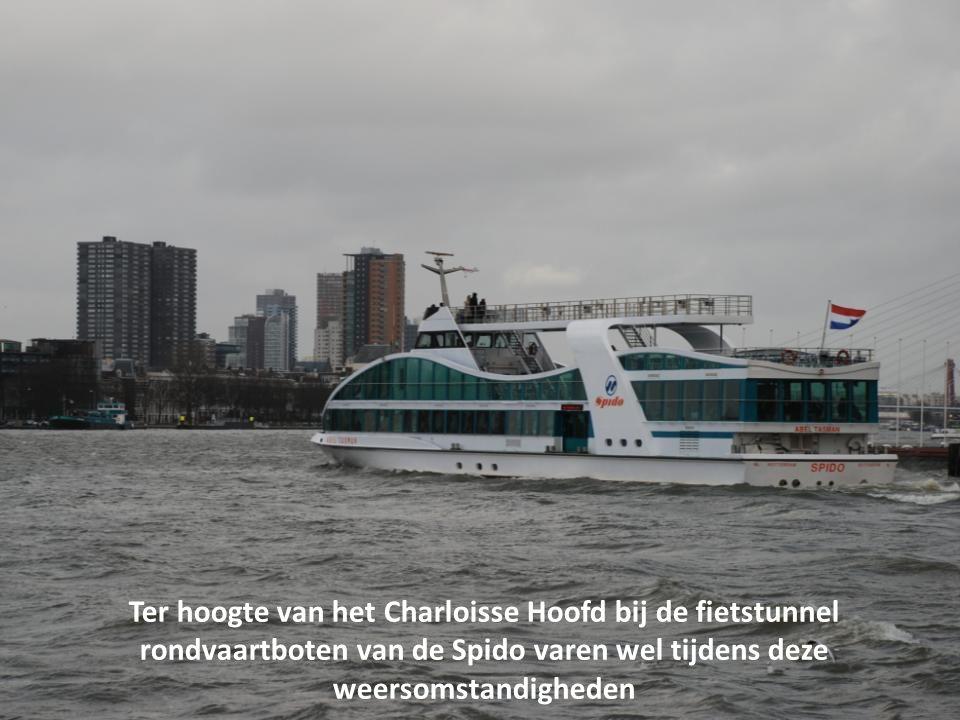 Windkracht 7 met uitschieters naar 8 op en langs de Maas in Rotterdam donderdag 5 januari 2012