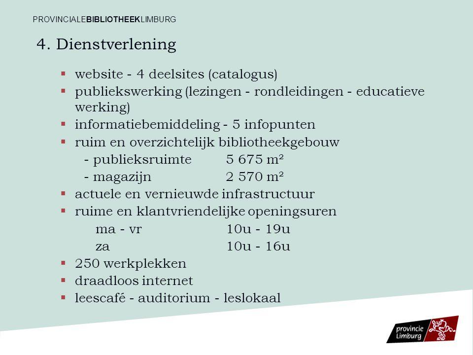 4. Dienstverlening   website - 4 deelsites (catalogus)   publiekswerking (lezingen - rondleidingen - educatieve werking)   informatiebemiddeling