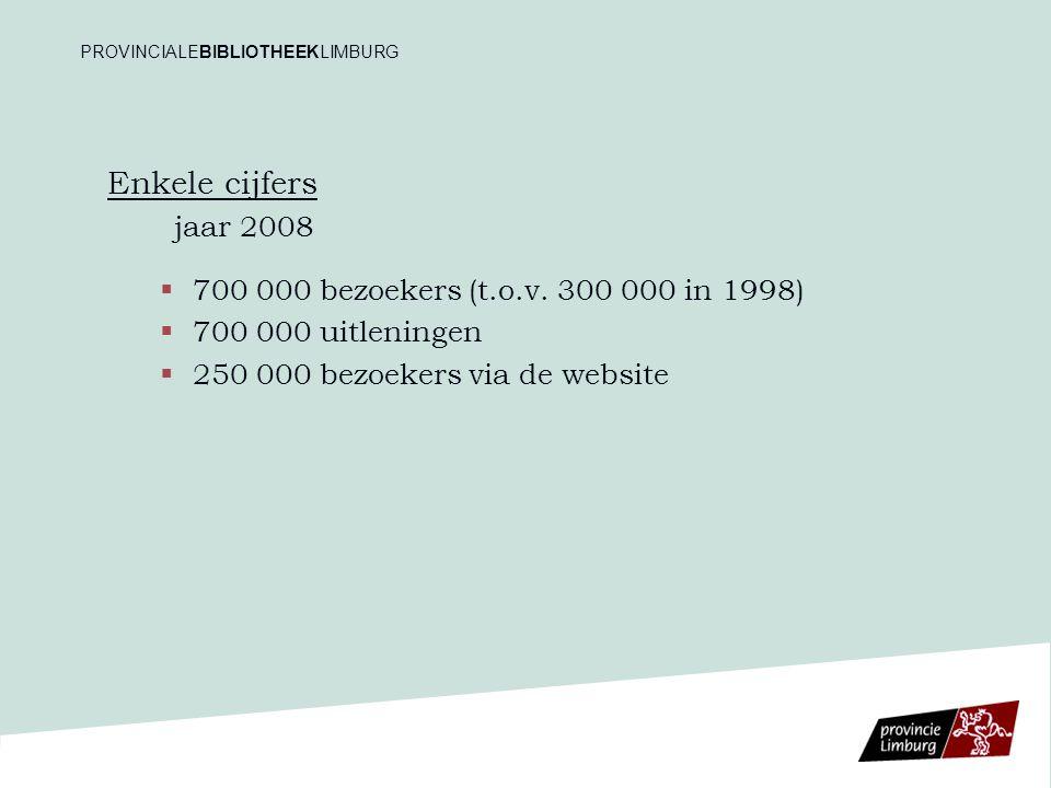 Enkele cijfers jaar 2008   700 000 bezoekers (t.o.v. 300 000 in 1998)   700 000 uitleningen   250 000 bezoekers via de website PROVINCIALEBIBLIO