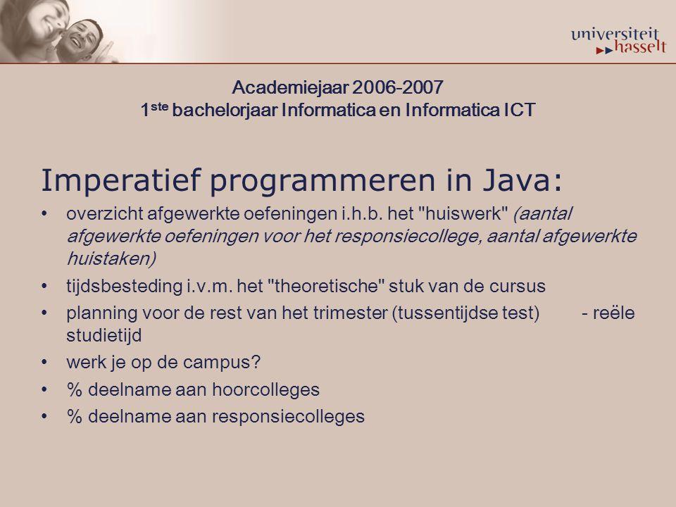 Academiejaar 2006-2007 1 ste bachelorjaar Informatica en Informatica ICT Imperatief programmeren in Java: overzicht afgewerkte oefeningen i.h.b.