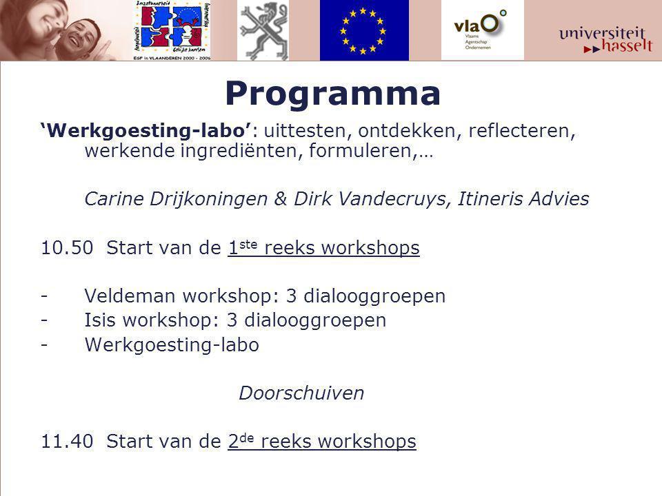 Programma 'Werkgoesting-labo': uittesten, ontdekken, reflecteren, werkende ingrediënten, formuleren,… Carine Drijkoningen & Dirk Vandecruys, Itineris Advies 10.50Start van de 1 ste reeks workshops -Veldeman workshop: 3 dialooggroepen -Isis workshop: 3 dialooggroepen -Werkgoesting-labo Doorschuiven 11.40Start van de 2 de reeks workshops