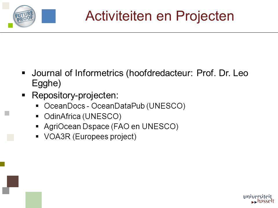 Activiteiten en Projecten  Journal of Informetrics (hoofdredacteur: Prof. Dr. Leo Egghe)  Repository-projecten:  OceanDocs - OceanDataPub (UNESCO)