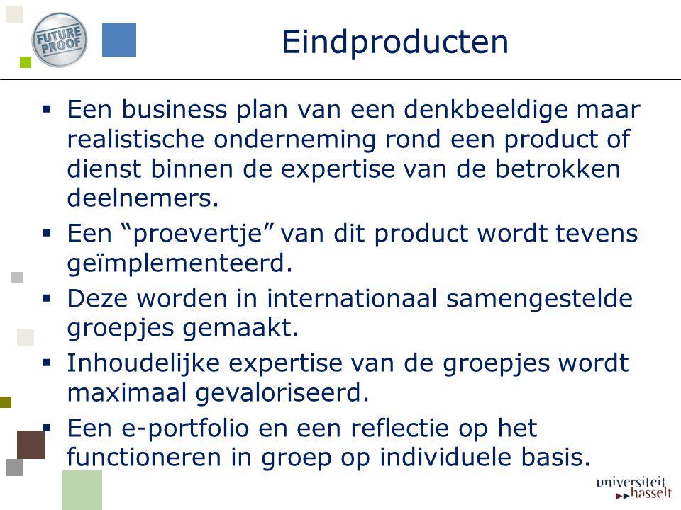 Eindproducten  Een business plan van een denkbeeldige maar realistische onderneming rond een product of dienst binnen de expertise van de betrokken deelnemers.