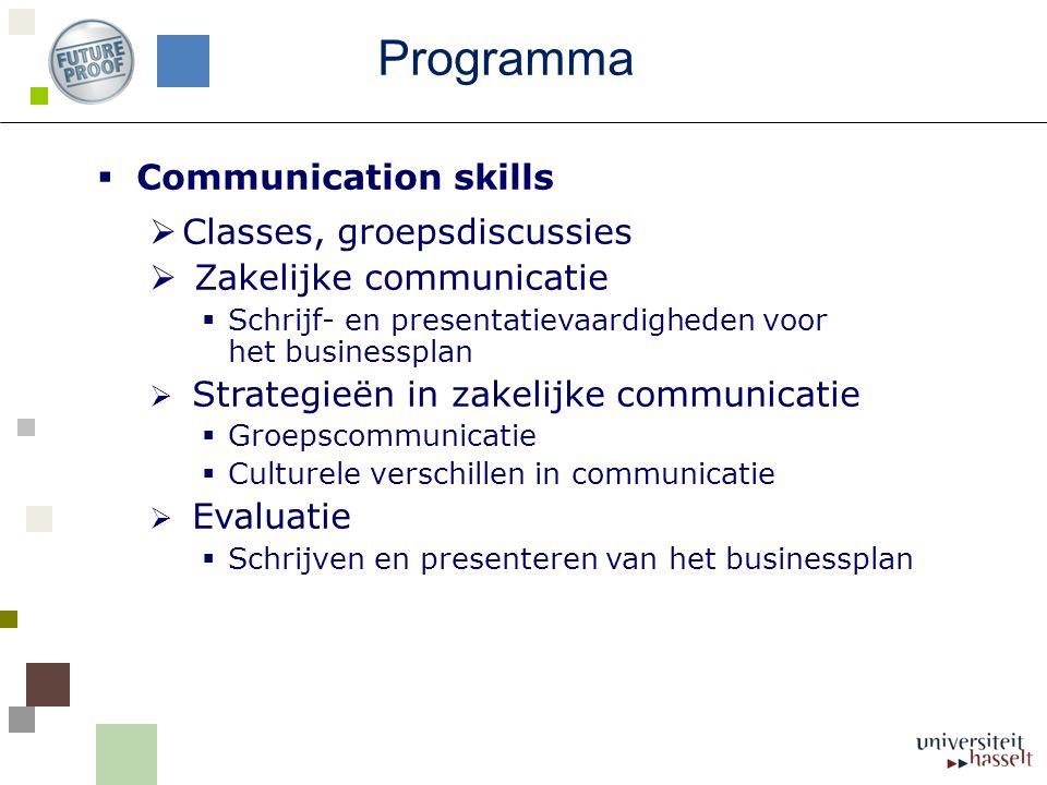  Communication skills  Classes, groepsdiscussies  Zakelijke communicatie  Schrijf- en presentatievaardigheden voor het businessplan  Strategieën in zakelijke communicatie  Groepscommunicatie  Culturele verschillen in communicatie  Evaluatie  Schrijven en presenteren van het businessplan Programma