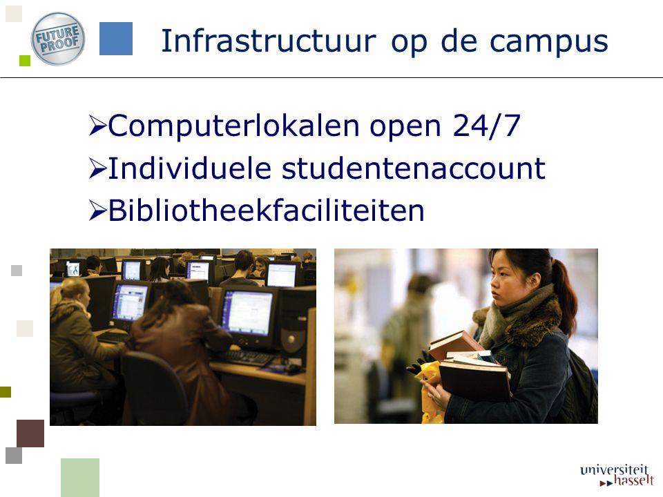  Computerlokalen open 24/7  Individuele studentenaccount  Bibliotheekfaciliteiten Infrastructuur op de campus
