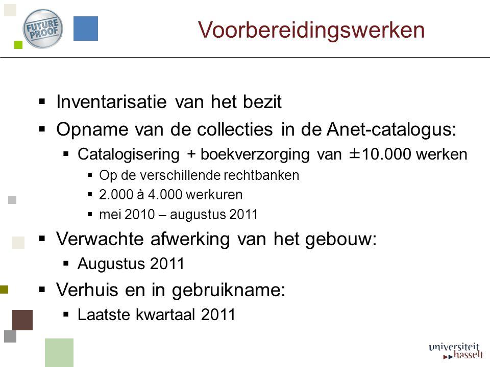 Voorbereidingswerken  Inventarisatie van het bezit  Opname van de collecties in de Anet-catalogus:  Catalogisering + boekverzorging van ±10.000 wer