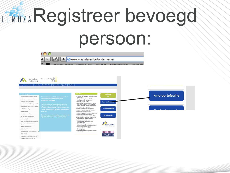 Registreer bevoegd persoon: