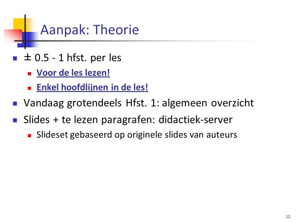 Aanpak: Theorie ± 0.5 - 1 hfst. per les Voor de les lezen.