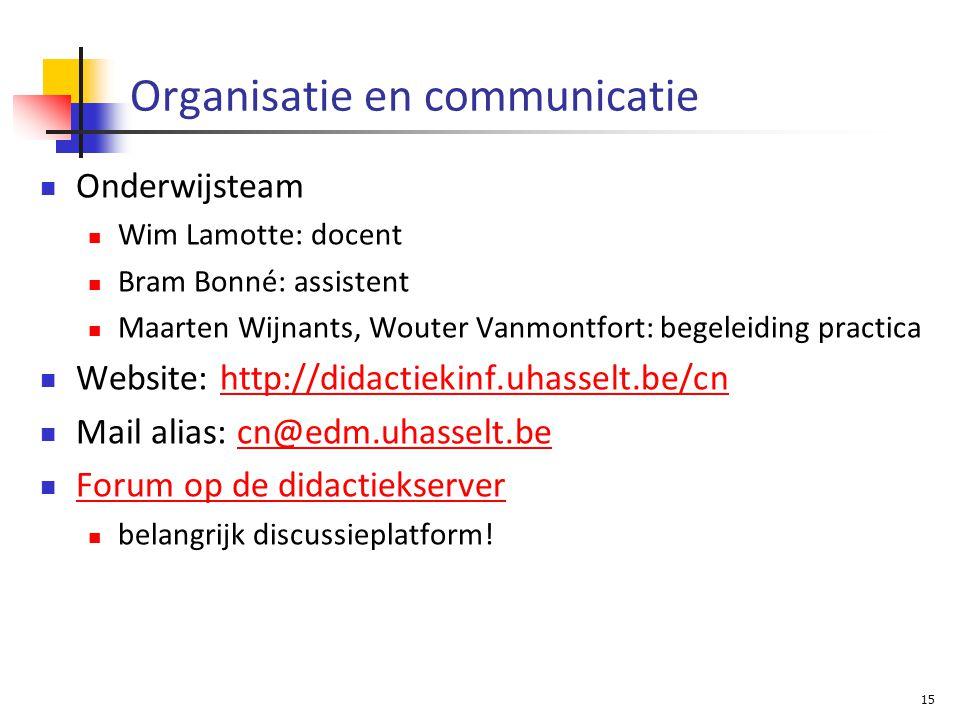 Organisatie en communicatie Onderwijsteam Wim Lamotte: docent Bram Bonné: assistent Maarten Wijnants, Wouter Vanmontfort: begeleiding practica Website: http://didactiekinf.uhasselt.be/cnhttp://didactiekinf.uhasselt.be/cn Mail alias: cn@edm.uhasselt.becn@edm.uhasselt.be Forum op de didactiekserver belangrijk discussieplatform.