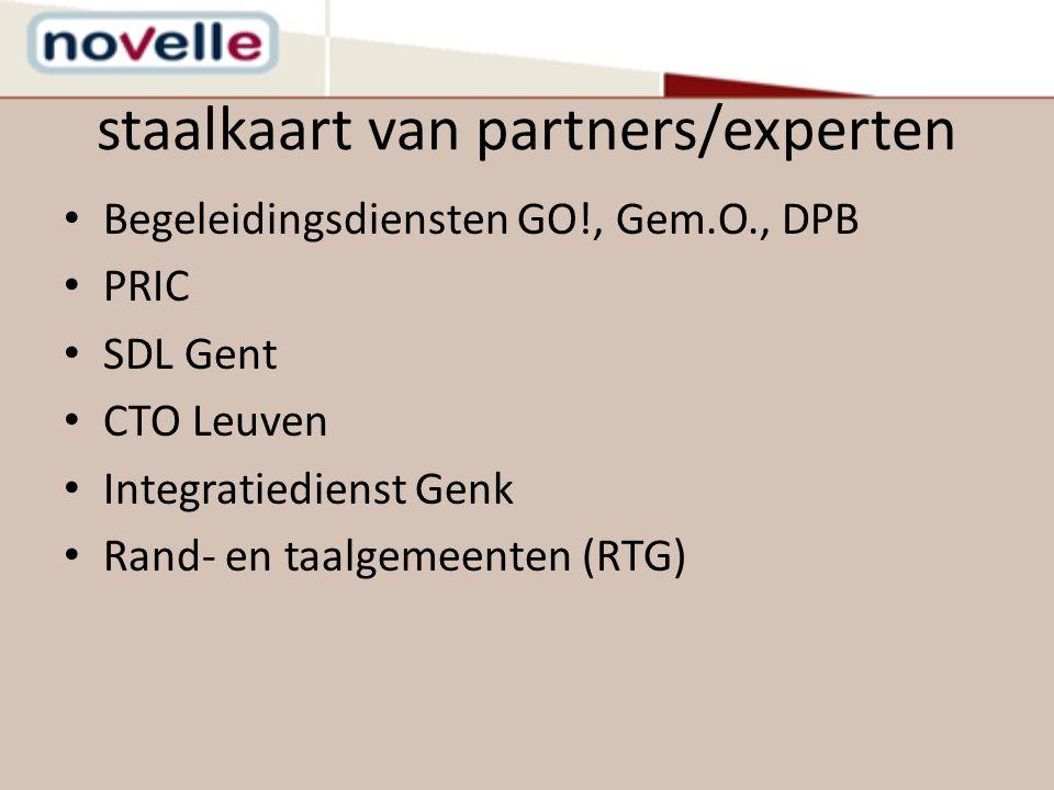 staalkaart van partners/experten Begeleidingsdiensten GO!, Gem.O., DPB PRIC SDL Gent CTO Leuven Integratiedienst Genk Rand- en taalgemeenten (RTG)