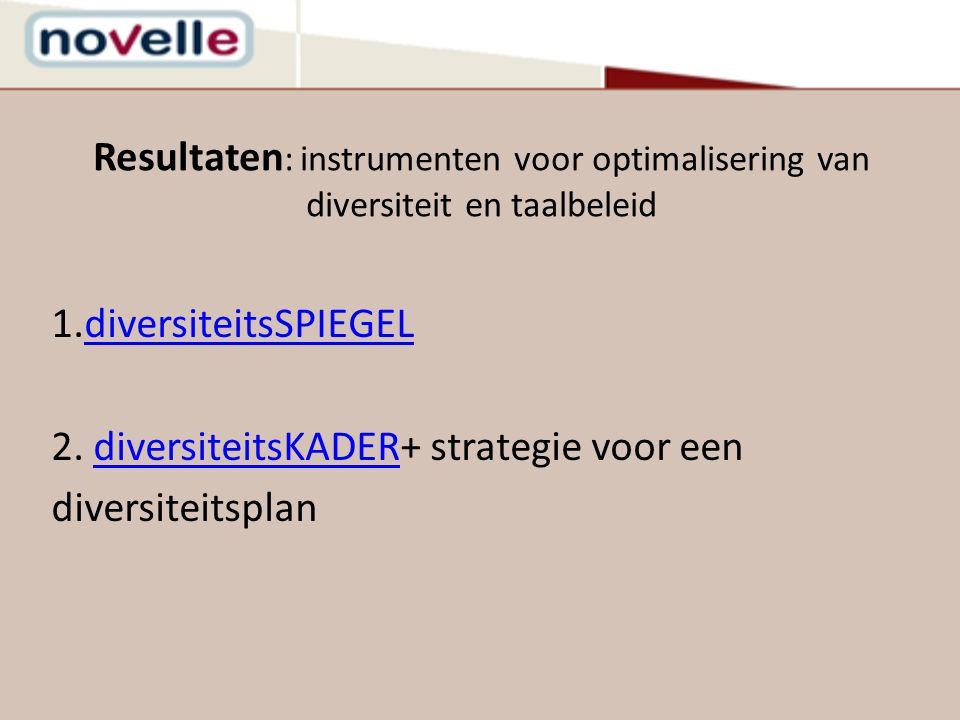 Resultaten : instrumenten voor optimalisering van diversiteit en taalbeleid 1.diversiteitsSPIEGELdiversiteitsSPIEGEL 2. diversiteitsKADER+ strategie v