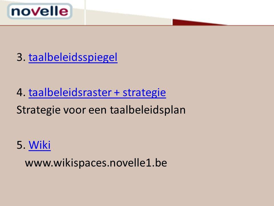 3. taalbeleidsspiegeltaalbeleidsspiegel 4. taalbeleidsraster + strategietaalbeleidsraster + strategie Strategie voor een taalbeleidsplan 5. WikiWiki w